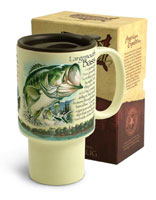 AMERICAN EXPEDITION STONEWARE TRAVEL MUG: LARGEMOUTH BASS