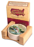AMERICAN EXPEDITION STONE COASTER SET OF 4: RAINBOW TROUT