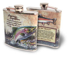 AMERICAN EXPEDITION WILDLIFE SERIES STAINLESS STEEL FLASK RAINBOW TROUT