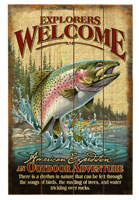 RUSTIC WOODEN EXPLORERS WELCOME CABIN SIGN: RAINBOW TROUT