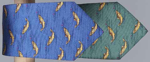 FISHING TIE: BROWN TROUT RISING (BLUE HEATHER)