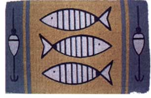 COIR HANDWOVEN  DOORMAT: FISH WITH HOOKS