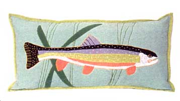 FEATHERS & FINS TROUT PILLOW  - EGGSHELL