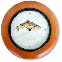 ALDER WOOD WALL CLOCK: BROWN TROUT CLOCK