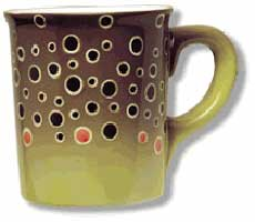 ABSTRACT TROUT STONEWARE: BROWN TROUT MUG