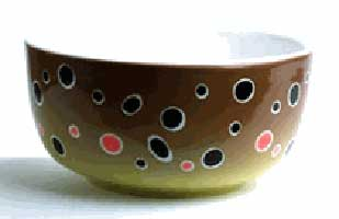 ABSTRACT TROUT STONEWARE: FISH BOWLS - BROWN TROUT