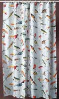 ANTIQUE LURE SHOWER CURTAIN