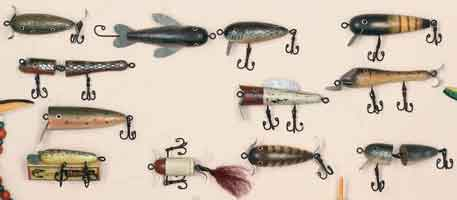 ASSORTED WOOD ANTIQUE LURE ORNAMENTS (SET OF 12)