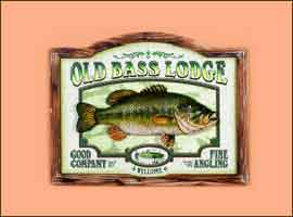 3 DIMENSIONAL PUB SIGN: OLD BASS LODGE