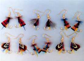 FLY EARRINGS: MATE BAIT - RED FLY WITH BLUE & YELLOW ACCENT