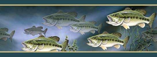 WALLPAPER BORDER: LARGE MOUTH BASS, GREEN
