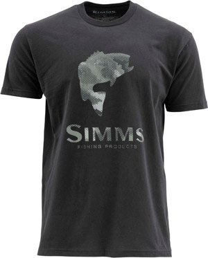 <font color=red>On Sale - Clearance</font><br>Simms Hex Camo Bass Logo SS T - Black