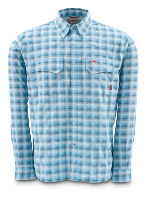 <font color=red>On Sale - Clearance</font><br>Simms Big Sky Shirt - Long Sleeve - Lt Blue Plaid