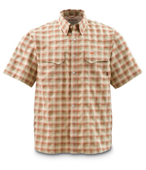 <font color=red>On Sale - Clearance</font><br>Simms Big Sky Shirt - Short Sleeve - Dk Khaki Plaid