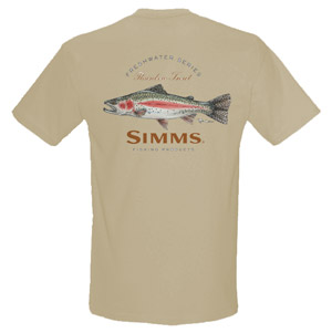<font color=red>On Sale - Clearance</font><br>Simms Currier T-Shirt Rainbow - SS - Lt Khaki