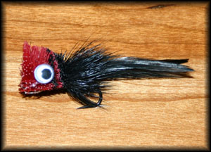 Deer Hair Bass Bug - Black/Red