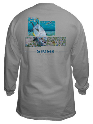 <font color=red>On Sale - Clearance</font><br>Simms DeYoung T-Shirt Permit 4 Panel - LS - Sport Grey