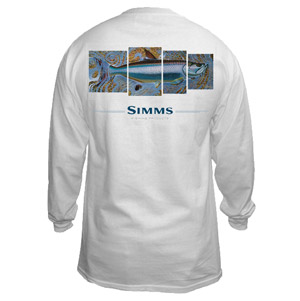 <font color=red>On Sale - Clearance</font><br>Simms DeYoung T-Shirt - Tarpon 4 Panel - LS - White