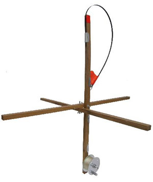 HT Explorer Wood Stick Tip-up w/Drag System, 500' Metal Spool and Line