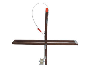 HT Explorer Dual Rail Design Wood Stick Tip-up w/Drag System, 500' Metal Spool and Line