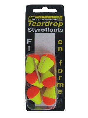 "Teardrop Styrofloat - 5/8"" - Yellow/Orange"