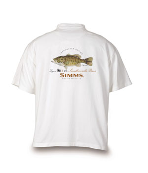 <font color=red>On Sale - Clearance</font><br>Simms Short Sleeve T-shirt - Small Mouth Bass/White