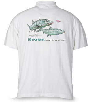 <font color=red>On Sale - Clearance</font><br>Simms Stidham T-shirt - SS - Tarpon - White