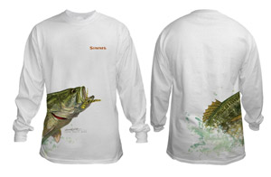 <font color=red>On Sale - Clearance</font><br>Simms Stidham T-Shirt Jumping Bass - LS - White
