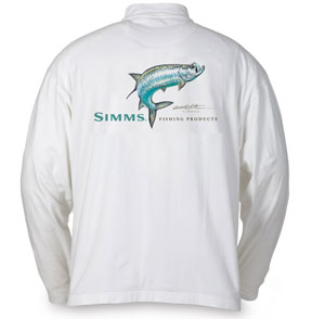 <font color=red>On Sale - Clearance</font><br>Simms Stidham Long Sleeve T-shirt - Tarpon/White