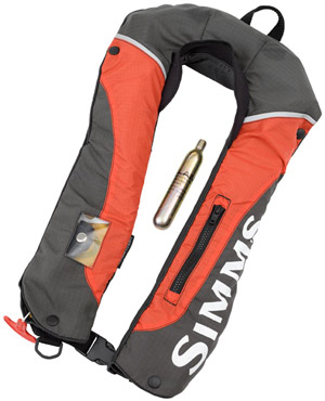 <font color=red>On Sale - Clearance</font><br>Simms Contender Inflatable PFD - Fury Orange