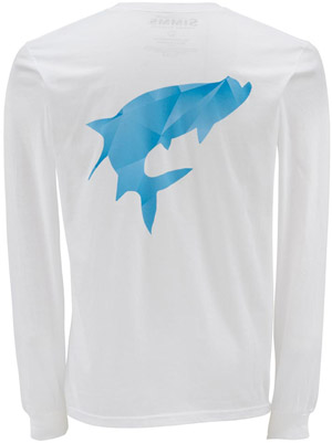 <font color=red>On Sale - Clearance</font><br>Simms Fractal Tarpon LS T-Shirt - White