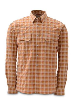 <font color=red>On Sale - Clearance</font><br>Simms Big Sky Shirt - Long Sleeve - Simms Orange Plaid