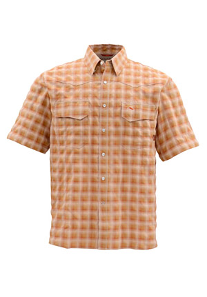 <font color=red>On Sale - Clearance</font><br>Simms Big Sky Shirt - Short Sleeve - Simms Orange Plaid