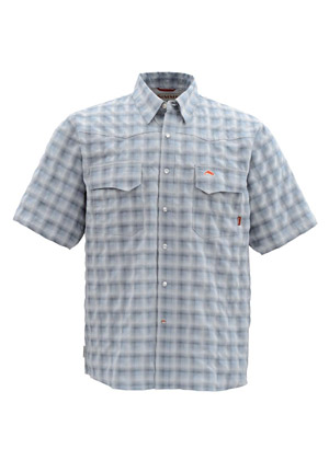 <font color=red>On Sale - Clearance</font><br>Simms Big Sky Shirt - Short Sleeve - Smoke Blue Plaid