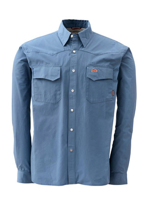 <font color=red>On Sale - Clearance</font><br>Simms Bozeman Long Sleeve Shirt - Storm Blue