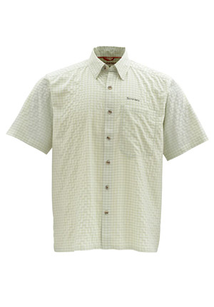 <font color=red>On Sale - Clearance</font><br>Simms Morada SS Shirt - Caye Green Plaid
