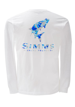 <font color=red>On Sale - Clearance</font><br>Simms T-Shirt - Tarpon Camo - LS - White