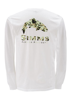 <font color=red>On Sale - Clearance</font><br>Simms T-Shirt - Trout Camo - LS - White