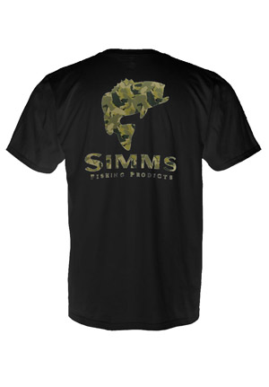 <font color=red>On Sale - Clearance</font><br>Simms T-Shirt - Bass Camo - SS - Black