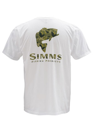 <font color=red>On Sale - Clearance</font><br>Simms T-Shirt - Bass Camo - SS - White