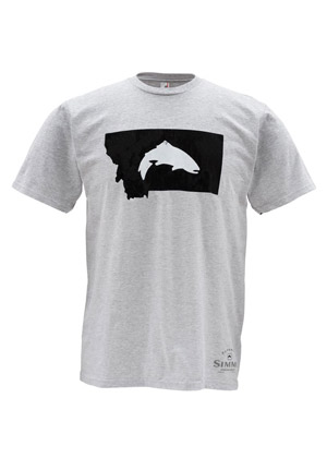 <font color=red>On Sale - Clearance</font><br>Simms T-Shirt - Fish Montana - SS - Ash Grey