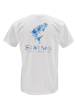 <font color=red>On Sale - Clearance</font><br>Simms T-Shirt - Tarpon Camo - SS - White