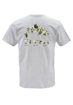 <font color=red>On Sale - Clearance</font><br>Simms T-Shirt - Trout Camo - SS - Ash Grey