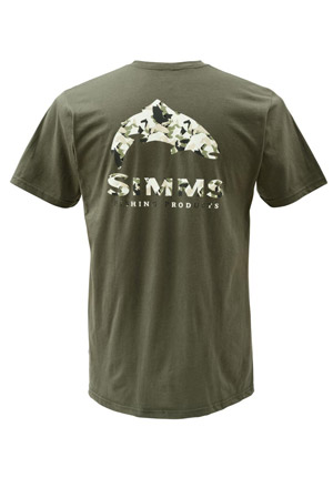 <font color=red>On Sale - Clearance</font><br>Simms T-Shirt - Trout Camo - SS - Olive