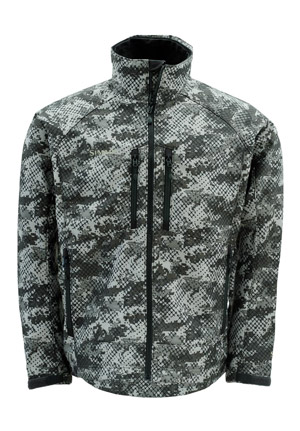 <font color=red>On Sale - Clearance</font><br>Simms Windstopper Softshell Jacket - Catch Camo Dk Gunmetal