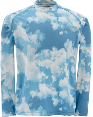 <font color=red>On Sale - Clearance</font><br>Simms Solarflex LS Crewneck – Prints - Blue Cloud Camo