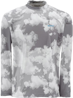Simms Solarflex LS Crewneck – Prints - Grey Cloud Camo