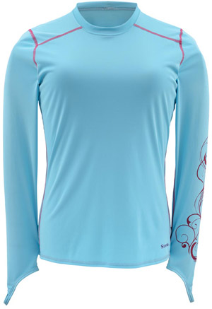 <font color=red>On Sale - Clearance</font><br>Simms Women's Solarflex LS Crewneck - Reef Script Print