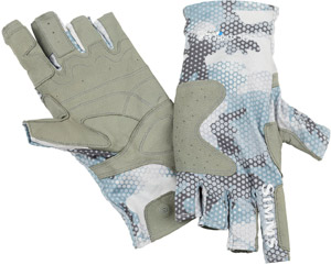 <font color=red>On Sale - Clearance</font><br>Simms SolarFlex Guide Glove - Hex Flo Camo Grey Blue