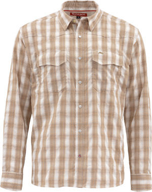 <font color=red>On Sale - Clearance</font><br>Simms Big Sky LS Shirt - Shiitake Plaid